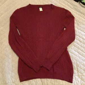 J Crew Burgundy Cable Knit Sweater - S/M